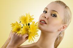 portrait with yellow flower - stock photo