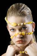 Yellow necklace mask Stock Photos