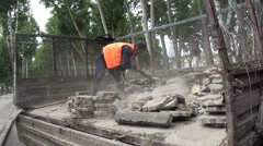 Road construction and maintenance in Dushanbe, Tajikistan Stock Footage