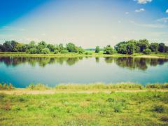 Retro look river elbe Stock Photos