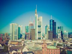 Stock Photo of retro look aerial view of frankfurt