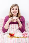 happy beautiful woman with cup of coffee - stock photo