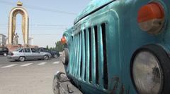 Somoni statue and Soviet truck, Dushanbe, Tajikistan Stock Footage