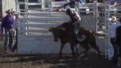 Rodeo, bullriding, slow mo follow bucked off, #7 Stock Footage