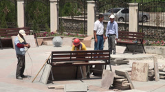 Chinese workers in Dushanbe, Tajikistan - stock footage