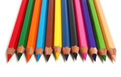 row sharp pencils - stock photo