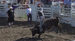 Rodeo, bullriding, slow mo follow bucked off, #5 Stock Footage
