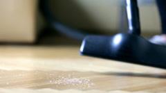 Vacuuming debris on floor parquet Stock Footage