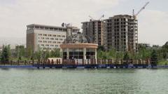 Dushanbe, Tajikistan, construction, lake, new, modern Stock Footage