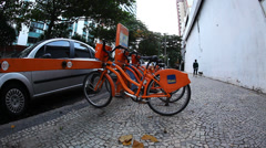 New public bicycle rental project in Rio de Janeiro Brazil Stock Footage