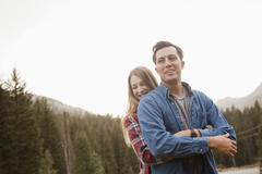 Portrait of young couple in non-urban scene Stock Photos
