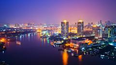 Bangkok city scape at nighttime Stock Photos