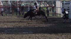 Rodeo, bullriding, slow mo follow bucked off, #4 Stock Footage
