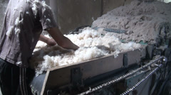 Appalling working conditions in cotton cleaning factory, child labor Stock Footage