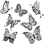 butterflies, contours - stock illustration