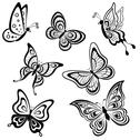 Stock Illustration of butterflies, contours