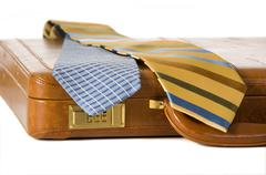 ties and briefcase - stock photo