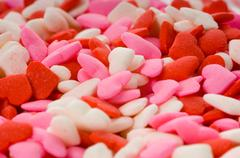 candy valentine's hearts - close-up - stock photo
