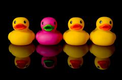 dare to be different - rubber ducks on black - stock photo