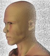 Digitally generated male profile against binary code background Stock Illustration