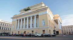 Building of the Alexandrinsky Theatre in Saint-Petersburg, Russia Stock Footage