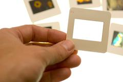 Inspecting slides - blank slide - insert your own picture Stock Photos