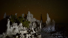 Time Lapse Mono Lake Tufa Tower  Perseids Meteor Shower Stock Footage