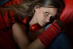 beautiful young woman with headphones - stock photo