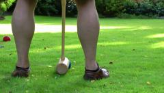 Playing Croquet Game Sport Leisure - stock footage