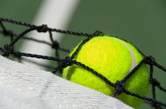 Tennis balls on court Stock Photos