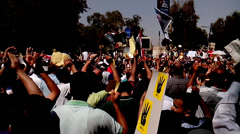 Anti-Coup Protests in Maadi, Cairo - stock footage