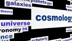 Cosmology scientific message hd animation Stock Footage