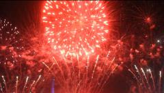 Colorful fireworks at holiday night - stock footage