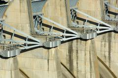 energy dam at a lake - stock photo