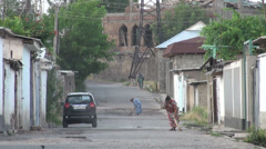 Sweeping the streets of Dushanbe, Tajikistan Stock Footage