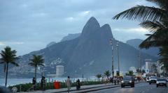 Avenida Atlantica, a major seaside avenue in Rio de Janeiro Stock Footage