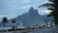 Stock Video Footage of Avenida Atlantica, a major seaside avenue in Rio de Janeiro