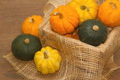 Small pumpkin in crate,healthy vegetable Stock Photos