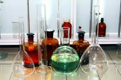laboratory beakers - stock photo