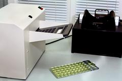 Laboratory equipment for determination of analyses Stock Photos