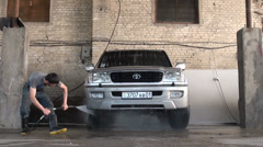 Carwash in Dushanbe, jeep, four wheel drive, NGO, Tajikistan Stock Footage