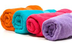 Multicolor towels Stock Photos