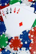 Full house in poker Stock Photos
