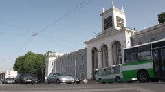 Driving past old Soviet Union building in Dushanbe - stock footage