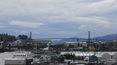 Lions Gate Bridge over Burrard Inlet Harbour in Vancouver BC Canada Time Lapse Stock Footage