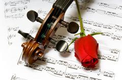 violin, rose and sheet music - stock photo