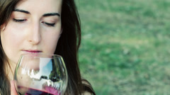 young woman tasting a burgundy,bordeaux - stock footage