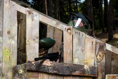 players in paintball - stock photo