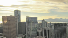 Vancouver BC Cityscape at Golden Sunset with Clouds and Traffic Time Lapse Stock Footage