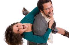 happy young couple - goofing off - stock photo
